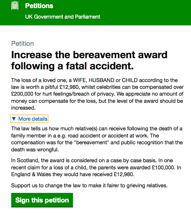 Bereavement Award - E-Petition